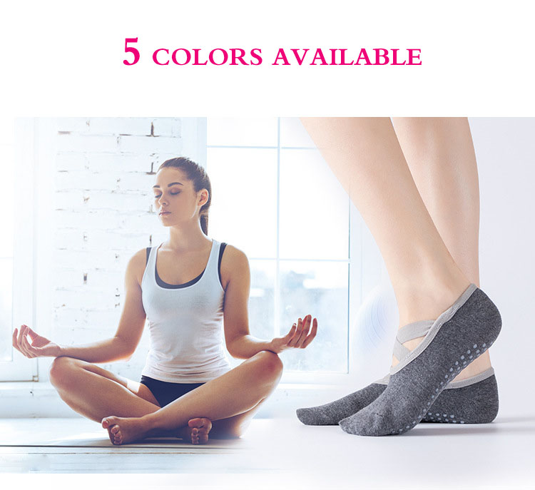 Women Cotton Yoga Socks Ballet Cross Straps Backless Pilates Socks Professional Non-Slip Sports Boat Socks