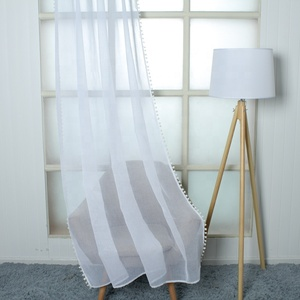 Fancy decoration polyester tulle edge with fringes Indian panel drape sheer curtains white for windows