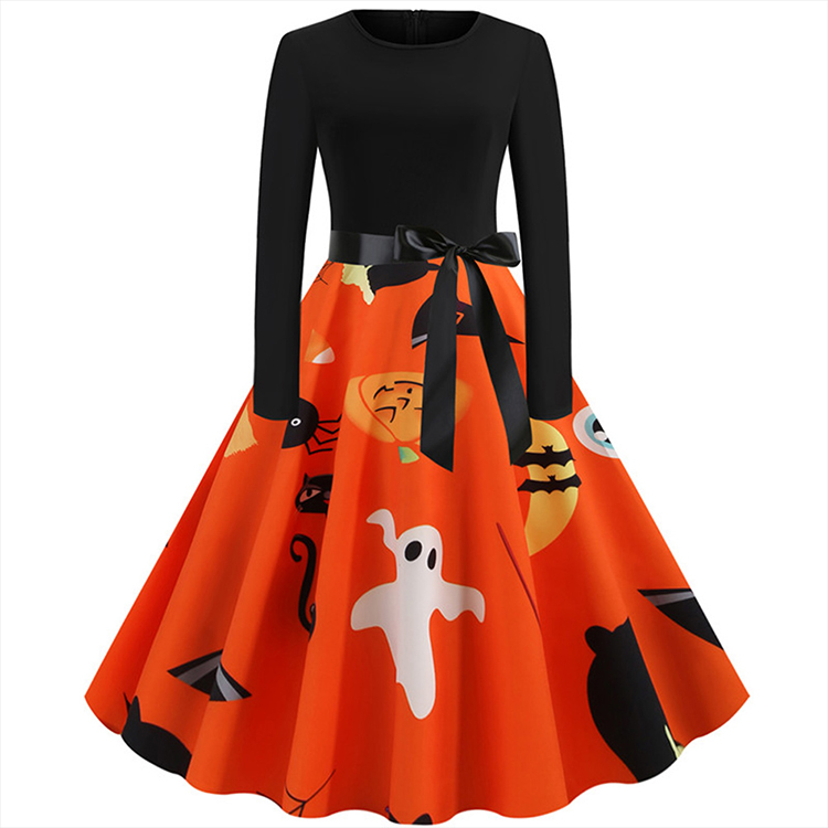 Halloween Fashionable Large Swing Print Stitching Halloween Costume adult Casual Dresses