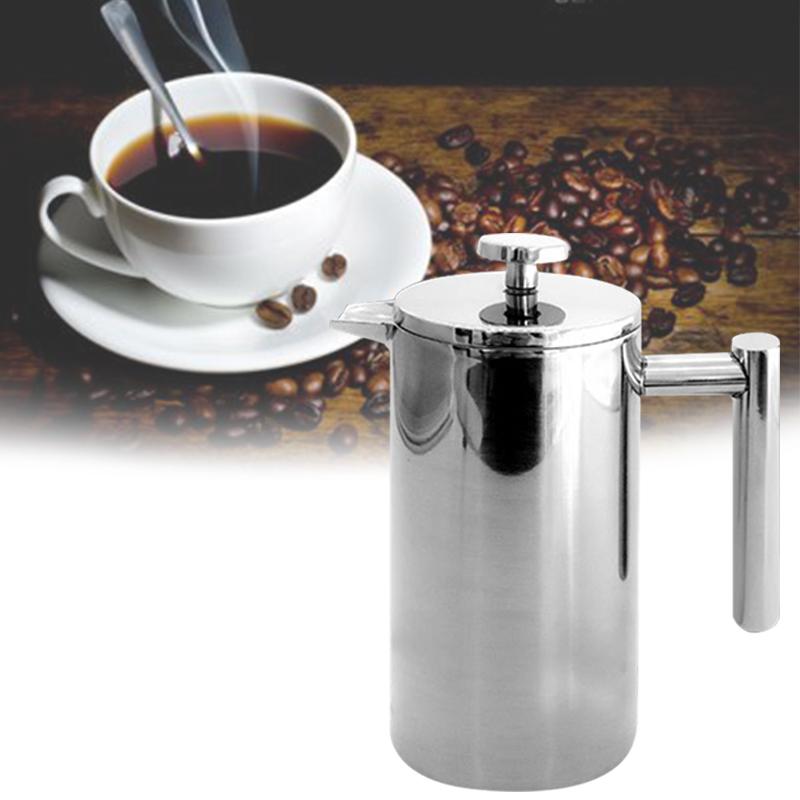 Нержавеющая сталь Френч-пресс для приготовления кофе горшок двойной слой ручной работы Кофе чайник с фильтром TB распродажа(Китай)