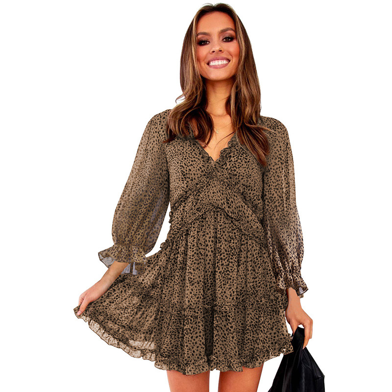 European and American spring and autumn 2020 new back V-neck waist bubble sleeve long sleeve women dress
