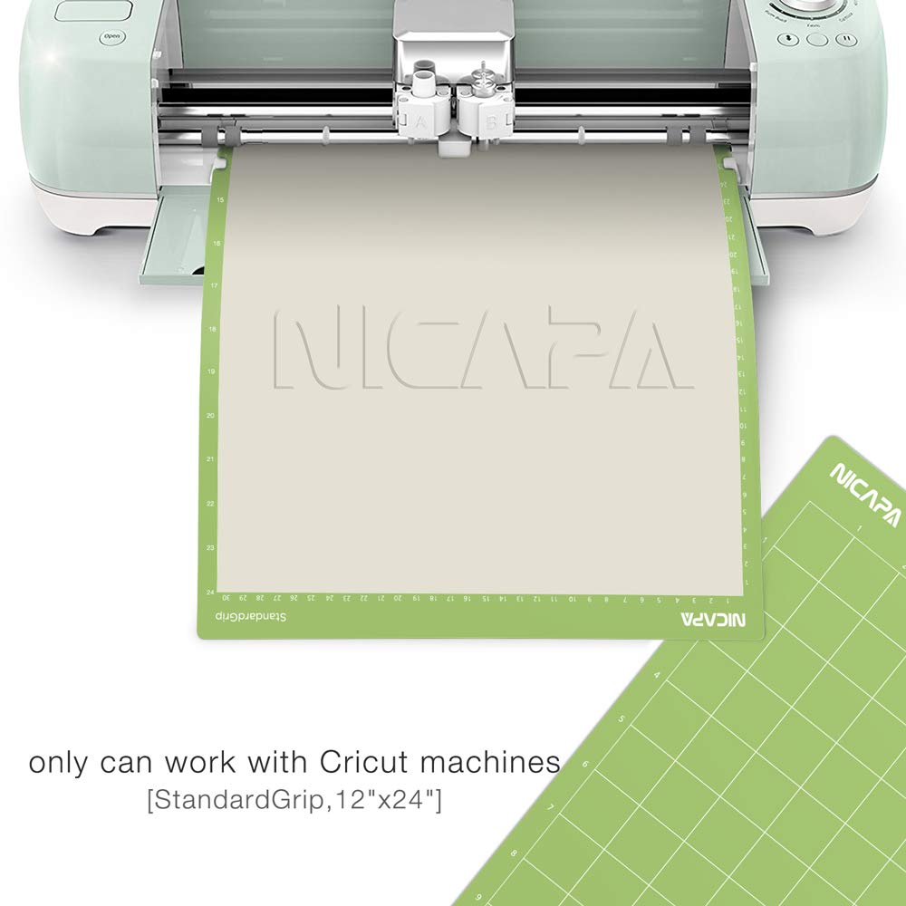 Nicapa Cutting Mat for Cricut Explore Air/Air 2/Maker (Standardgrip,12x24,3pack) Adhesive Sticky Green Craft Accessories Mats