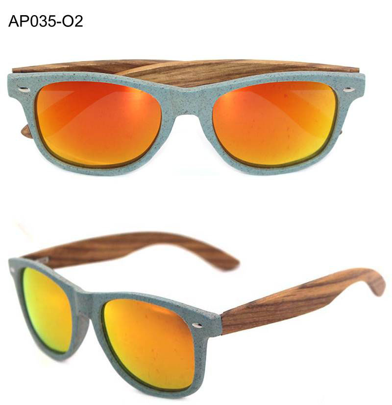 Wheat straw sunglasses UV400 lenses eco friendly sustainable biodegradable plastic sunglasses