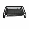 Black Metal Mesh Wire Desktop Organizer Height Adjustable Laptop Computer Monitor Stand Portable for Office Home School