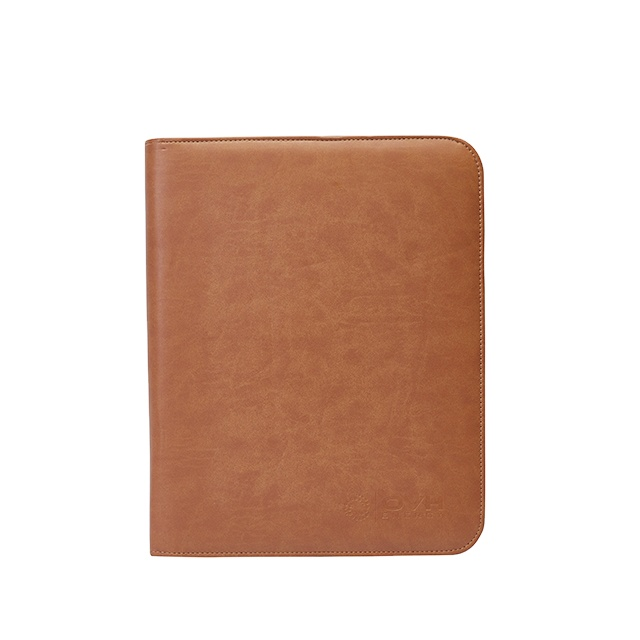 Wholesale a4 zippered office conference organizer pu leather portfolio folder