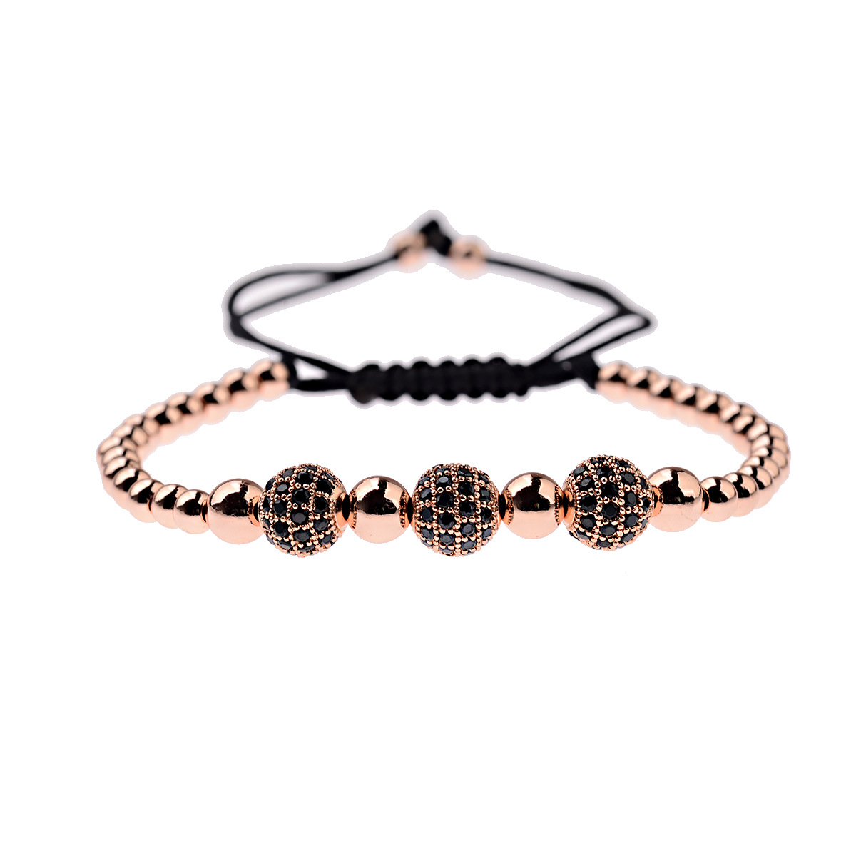 Wholesale fashion jewelry Gold Copper beads Beaded Rose gold plating diamond Ball Charm adjustable bracelet for men