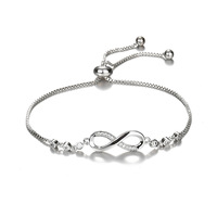 18k Gold CZ Crystal Lucky Number 8 Heart Infinity Bracelet Adjustable Zircon Infinity Bracelet for Valentine's Gift