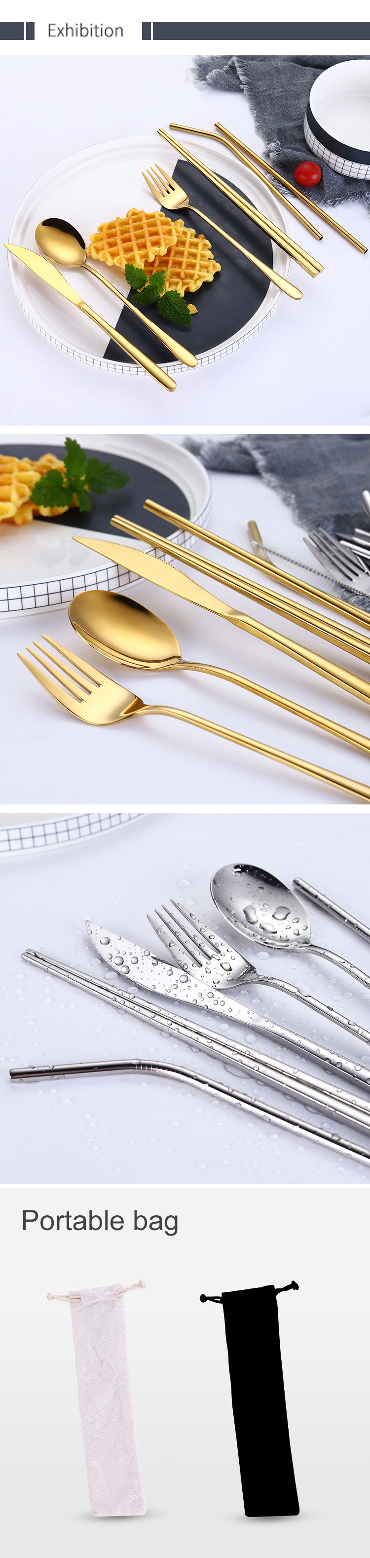 Titanium plated stainless steel cutlery rose gold cutlery set used in hotel restaurant party
