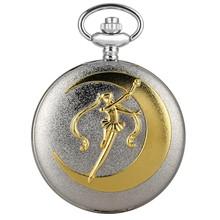 Новые модные серебряные кварцевые карманные часы, роскошное Золотое матросское лунное ожерелье, подвесное ожерелье, цветочные карманные ч...(Китай)