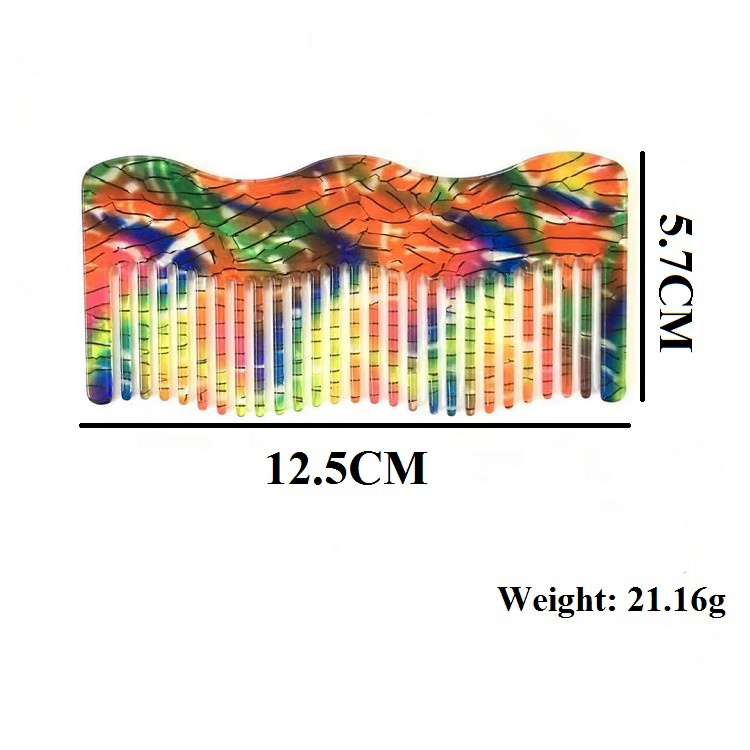 Latest Design Cellulose Acetate Styling Pocket Comb Rainbow Personalized Wave Comb Brush for Home Salon