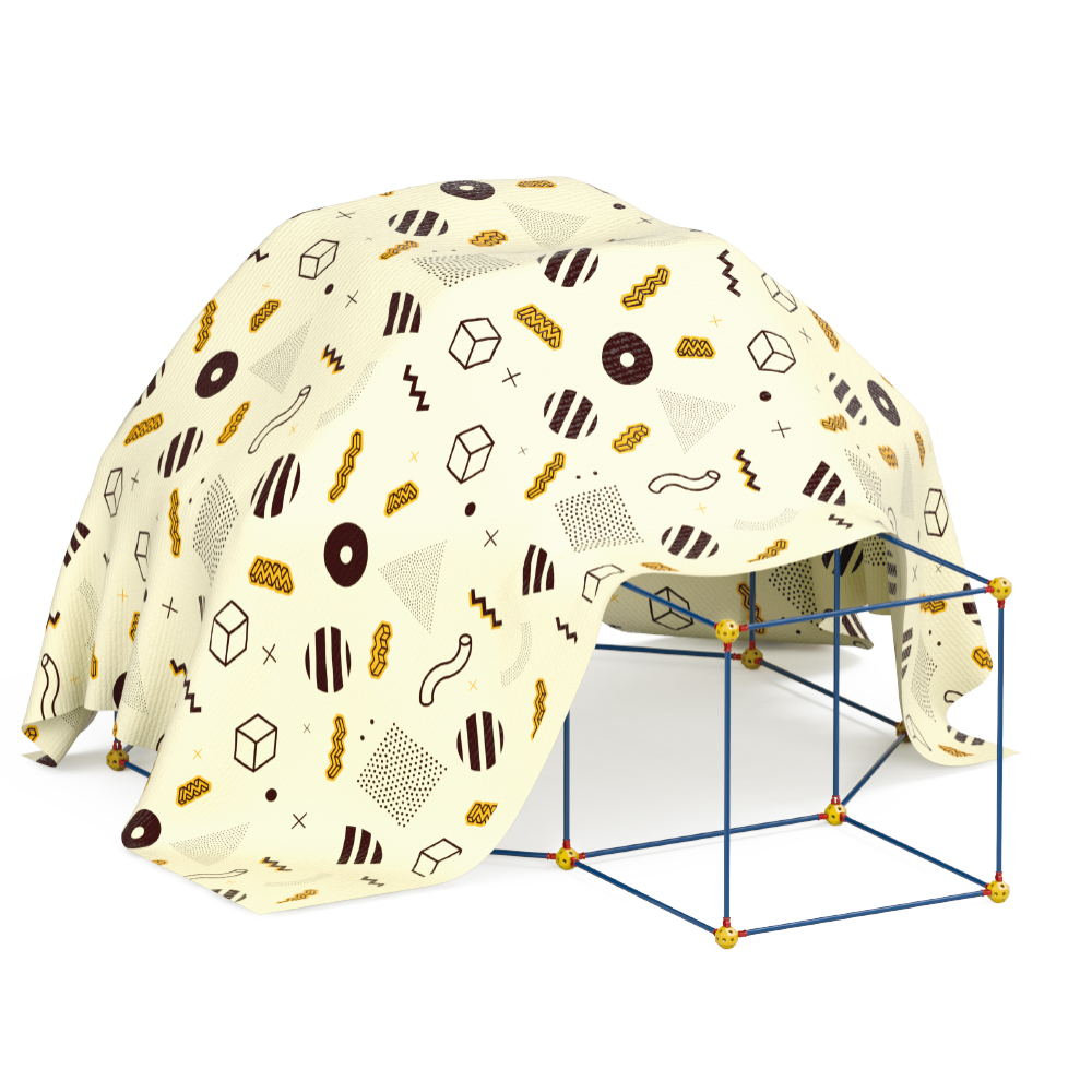 75 PCS STEM DIY Construction Fort Building Play Tent with Balls and Poles for Kids Indoor Outdoor