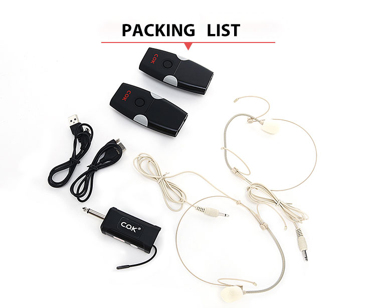 C.O.K  Smart Wireless Microphone Headworn Mic With Headset Mics Beltpack Transmitter For Teaching