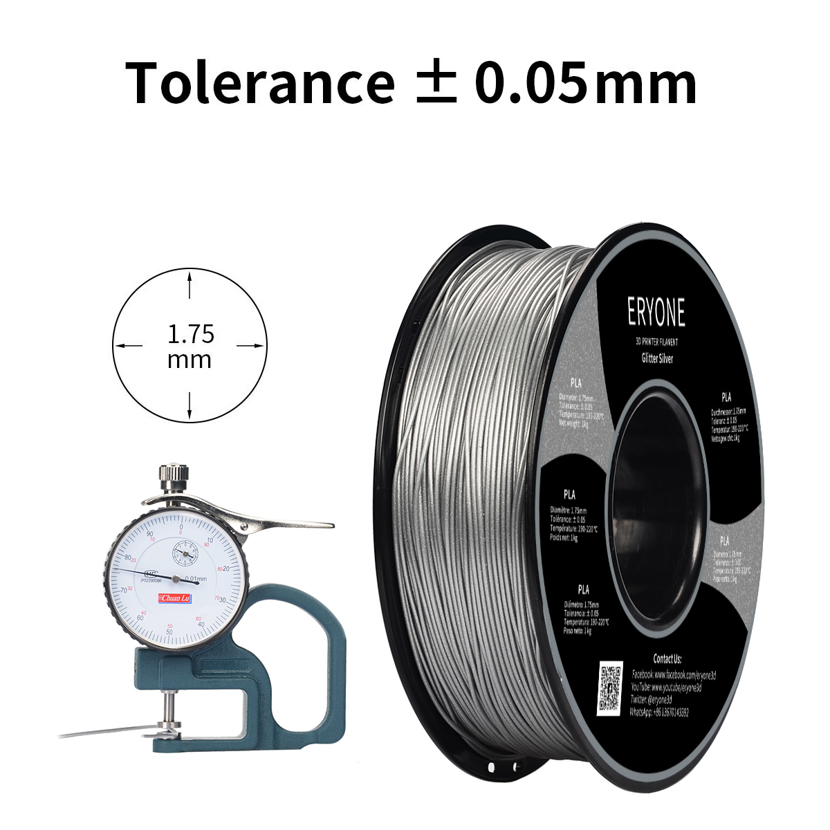ERYONE Sparkly Glitter Silver PLA 3D Printer Filament 1.75mm 1kg (2.2LBS)/Spool