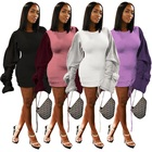 ASGL6077 latest design puff long sleeve solid women fashion solid mini casual dress