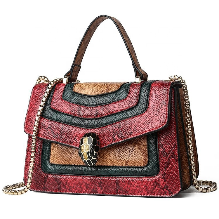 New fashion pu tote bags trend luxury snakeskin printed leather designer shoulder handbags for <strong>women</strong>