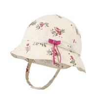 Kaavie floral printed cotton toddler bucket summer cap wholesale baby girl hat with bow