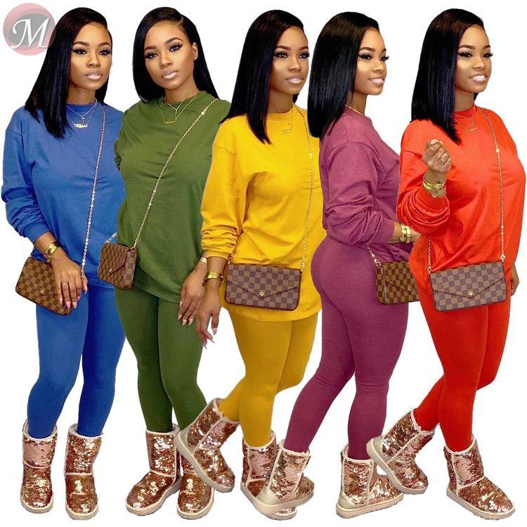 9110432 Лучшая цена, однотонная Свободная Толстовка ярких цветов, повседневные брюки, комплект из двух предметов, женская одежда
