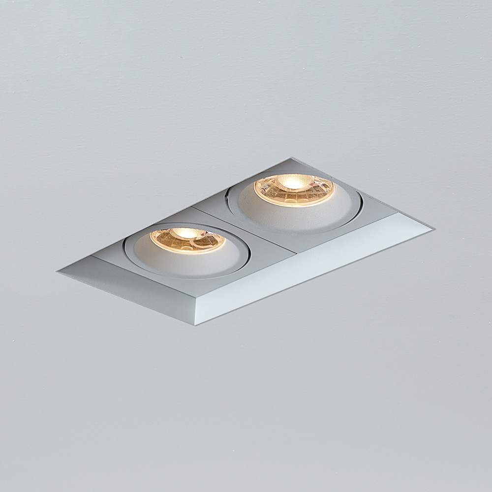 2*7W 2*10W Residential Indoor Magnet Twin Double Spot Light Square Low Glare Trimless Recessed COB LED Downlight