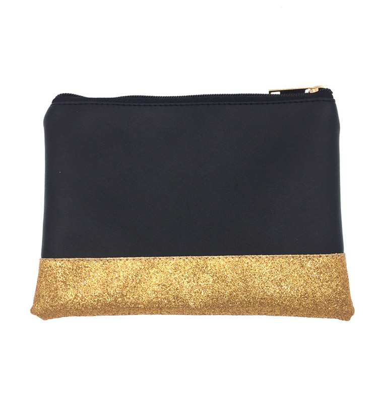 stock small MOQ colorful Gold foil custom logo print cosmetic bag for woman glittering make up promotion