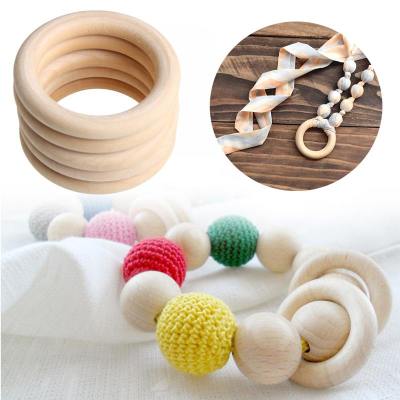 35mm मोती लटकन कनेक्टर्स लकड़ी के छल्ले दौर हलकों प्राकृतिक लकड़ी अंगूठी के लिए DIY के आभूषण बनाने शिल्प