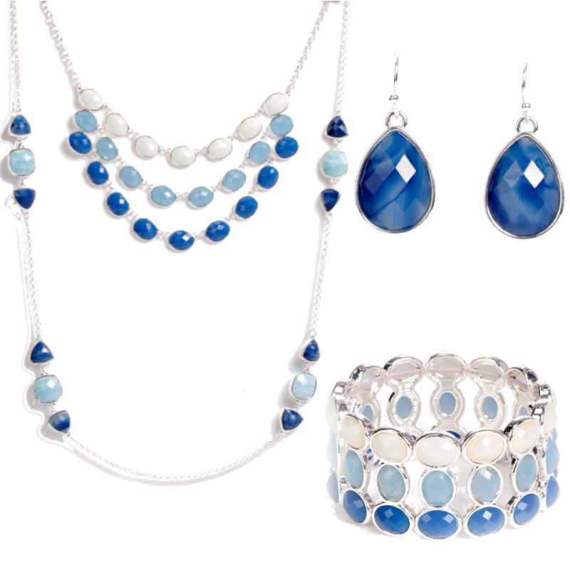 Women's Marine Amorous Feelings Natural Fashion Colorful Dubai Cheap Necklace And Earrings Jewelry Set