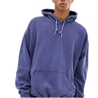 Design High Quality Men 100% cotton fleece logo custom wash blue oversize hoodie