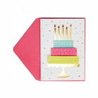 Colorful 3D Cake Wish Birthday Handmade Cards, Greeting Cards With Gems and Foil