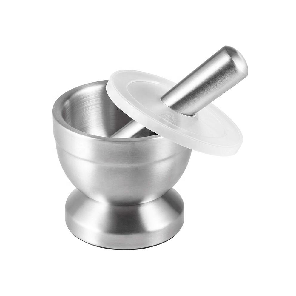 Utensilios de cocina moler herramienta de prensa de ajo 304 cepillado especias molinos de acero inoxidable mortero y mortero