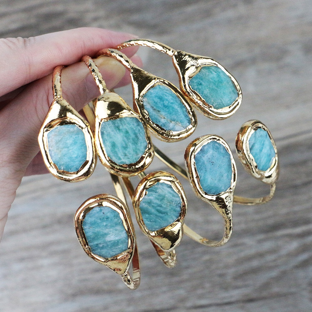 LS-J244 Amazon hot sell gemstone cuff amazonite bangle with 24k real gold plated high quality