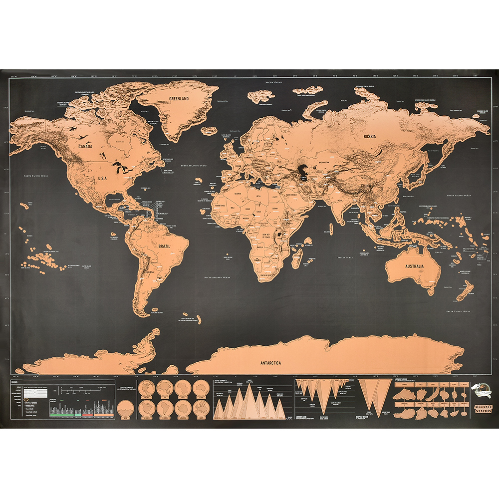 Large Size Maps International Scratch The World Travel Map 82.5x59.4cm Scratch Off World Map