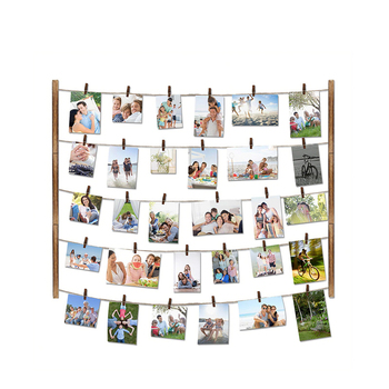 Custom shape rustic antique vintage wooden family Wall Decor collage photo picture frame with 30 Clips