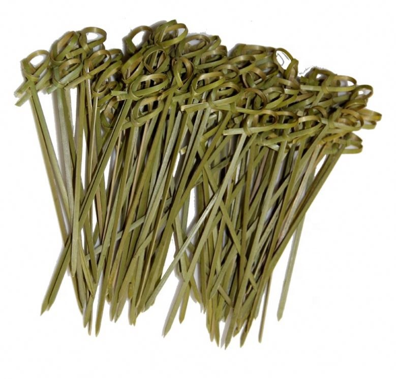 Disposable Nontoxic <strong>Decorative</strong> Skewers <strong>Bamboo</strong> <strong>Stick</strong> With Knotted Pick