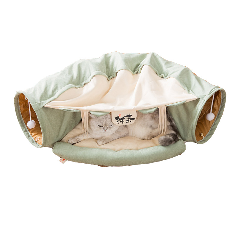 Features Collapsible Cat Bed Tunnel Totoro Nest Spring And Summer Indoor Cat House