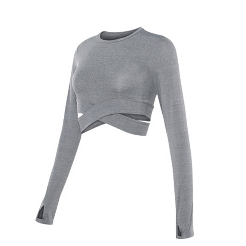 wholesale new fashion trendy  long sleeve crop top sexy   long sleeve t-shirt for women