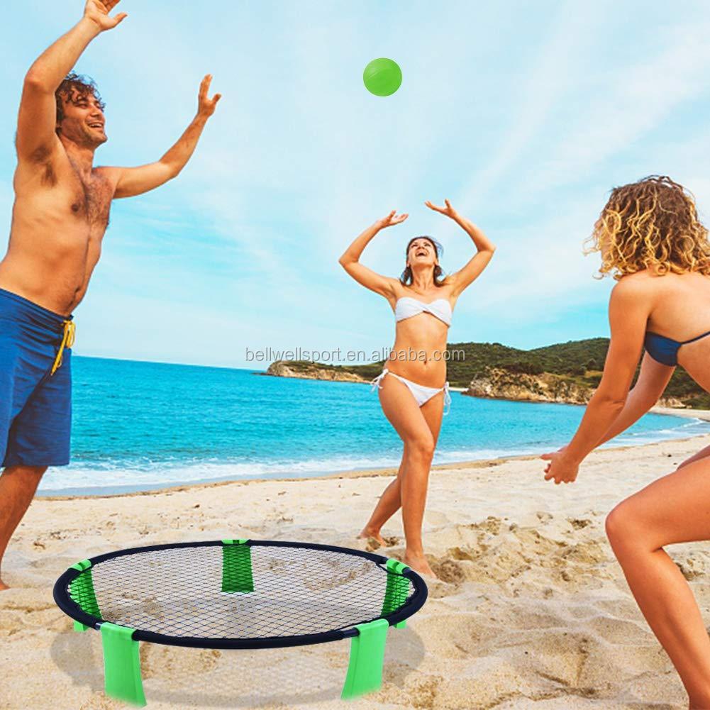 Voleibol Spikeball slammo jogo Grande jogo para o Jardim, Gramado, Banco, camping Jogo W/Jogando Net, 3 Bolas, Chama