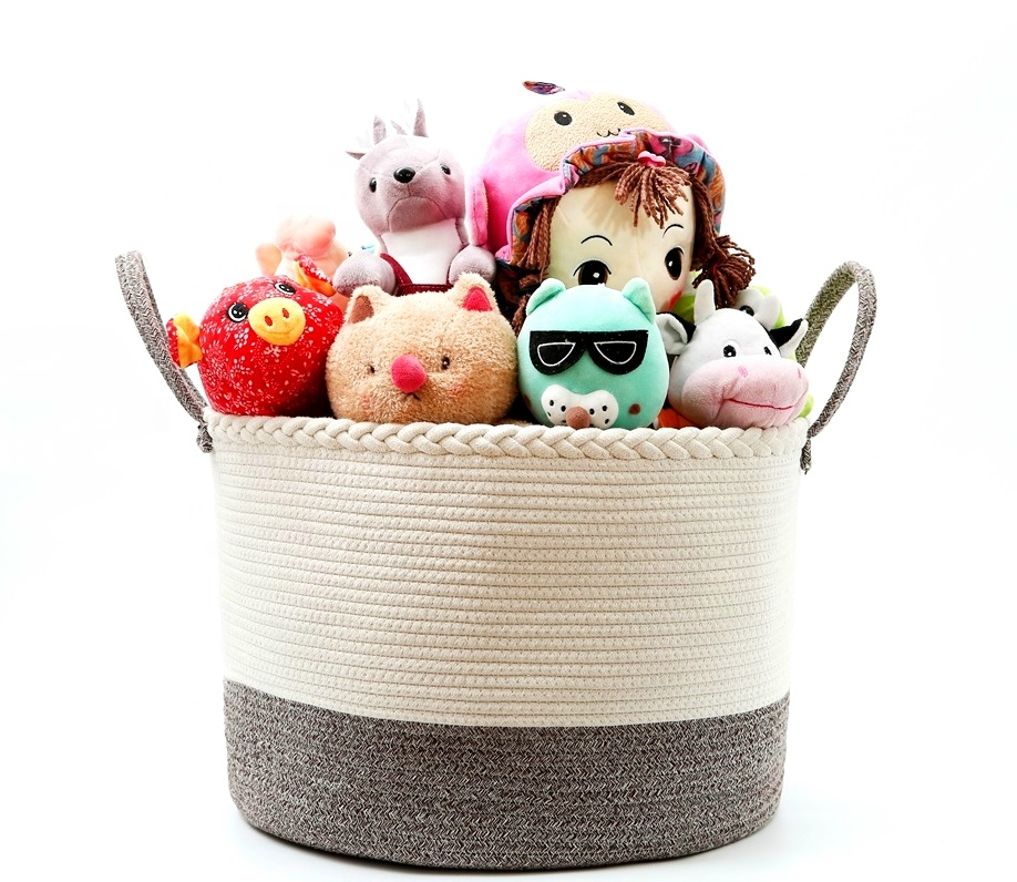 "YUGUANG Extra Large Storage Rope Baskets, 2PCS Woven Baskets, Blanket Cotton Rope Basket Set (L Size 20""X13"" s Size 12""x8"")"