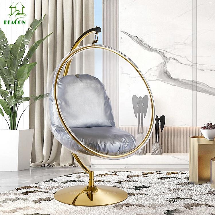 Ad Fabrik preis Moderne Wohnzimmer transparent Acryl lucite Stehen Blase stuhl in pinsel gold fram