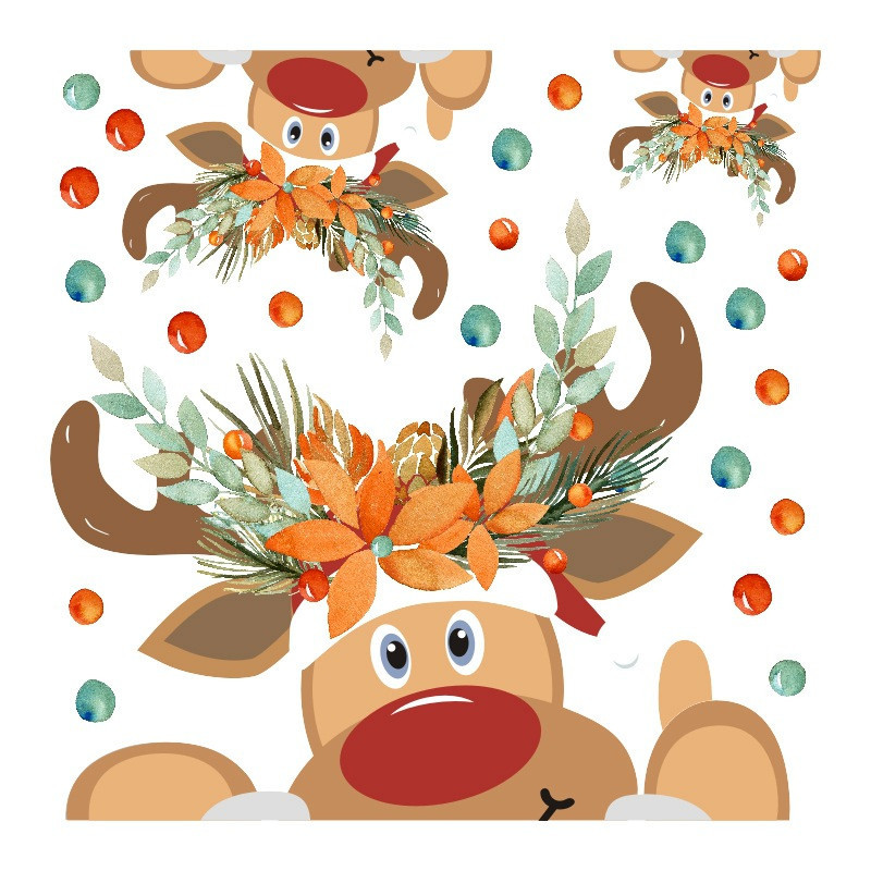 Hot Sale Christmas Stickers Elk Window Glass PVC Decoration Self-adhesive Wall Sticker