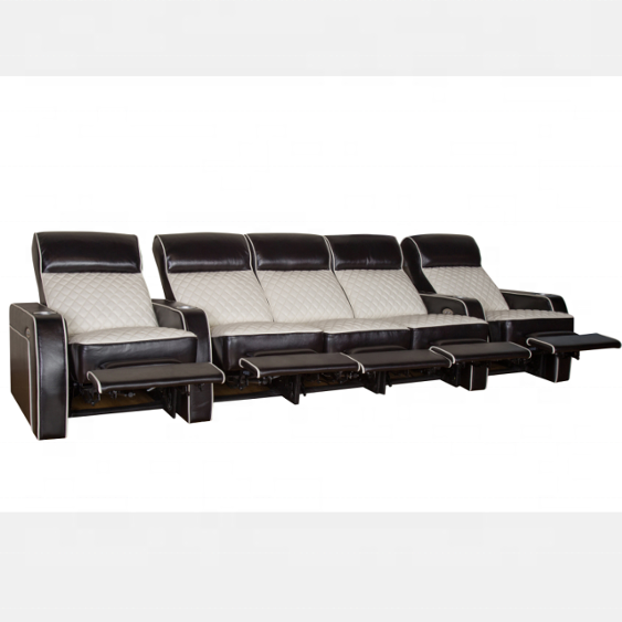 Moderne Zwarte Lederen Sofa Liggende Home Theater Sofa Voor Project