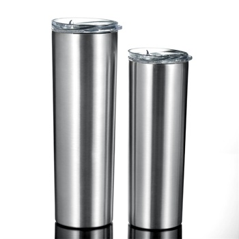 Custom Logo Stainless Steel Double Wall Insulated Tumbler Cups 30 oz Skinny with Slide Lids and Straw