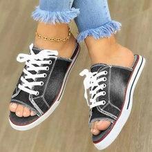 DORATASIA/классная джинсовая обувь на шнуровке, Летние повседневные Слиперы на плоской подошве, женские летние повседневные шлепанцы на низком ...(Китай)