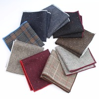 Mens Cotton Wool Formal Clothing Pocket Square Man Wedding Geometric Dot Handkerchief Dark Color