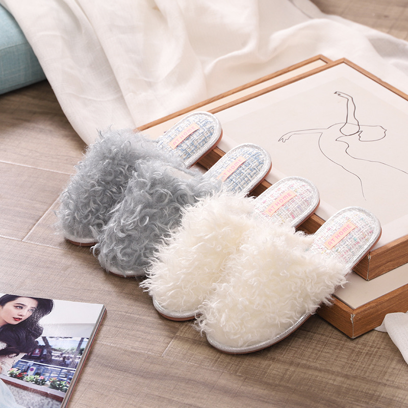 Fashion home closed toe slippers indoor non-slip fluffy slippers plush autumn
