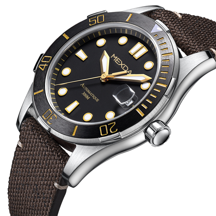 Custom high quality genuine leather strap <strong>ceramic</strong> bezel stainless steel <strong>case</strong> oem classic diver men watch automatic 200m for sale
