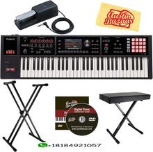 Roland FA-06 61-Note Music Bundle Workstation กับ Roland DP-10 Damper Pedal ปรับขาตั้งและ Austin Bazaar Polishing CLOT
