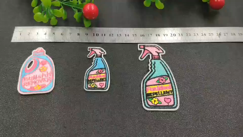 Custom badge embroidery cartoon spray shape sewing clothing iron on patches