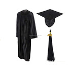 Wholesale black shiny graduation gown and cap for school uniform with tassels