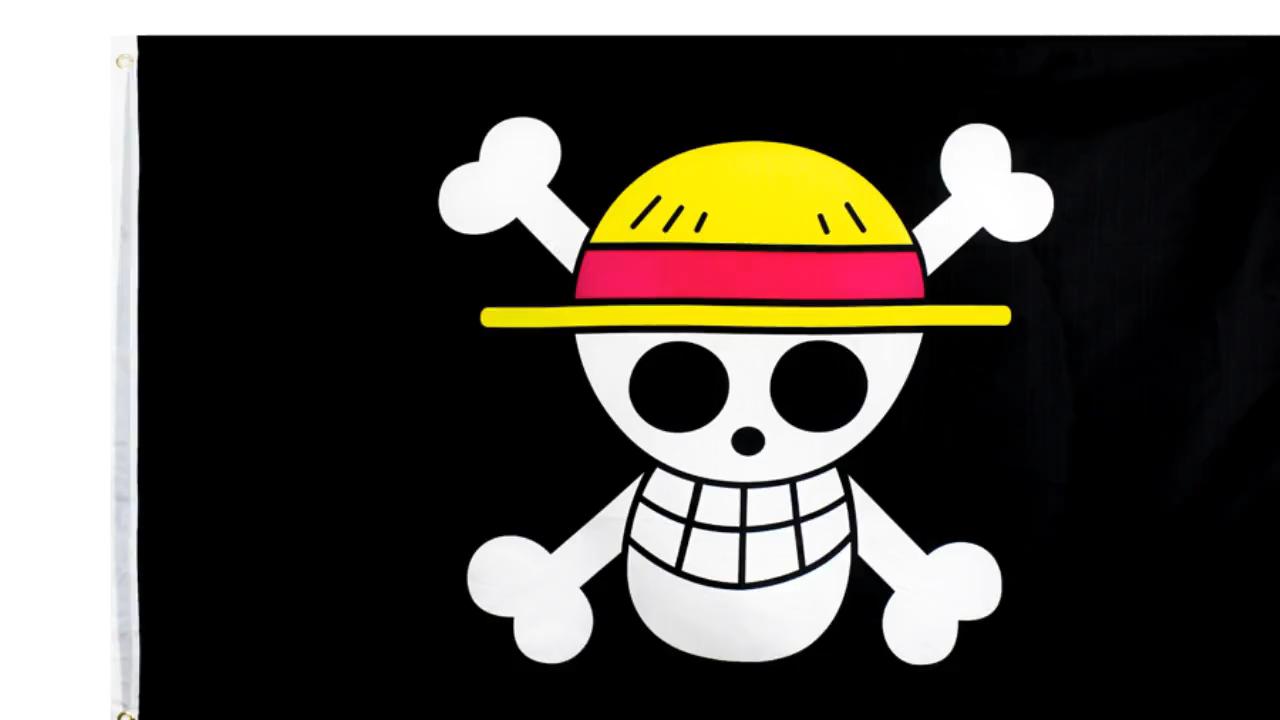En gros 100% Polyester 3x5ft Stock Imprimé Chapeau De Paille Pirate Luffy Crâne Drapeau