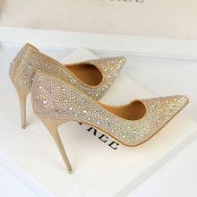 2020 женские туфли на высоком каблуке 10 см; блестящие туфли-лодочки для стриптиза с кристаллами; женские элегантные свадебные туфли серебрист...(Китай)