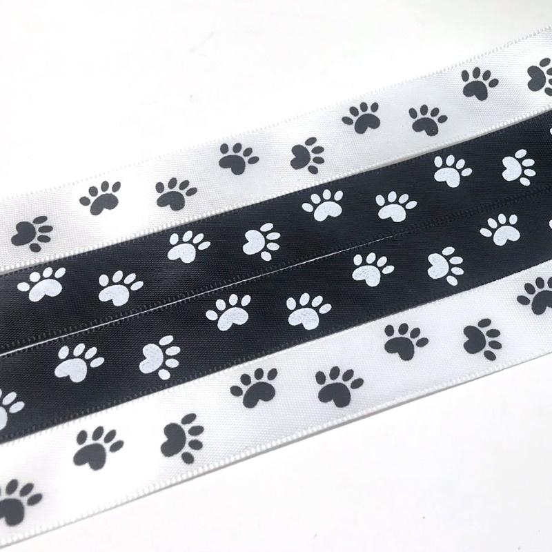 סיטונאי Custom 16mm לבן ושחור כלב Paw מודפס סאטן רצועת כלים